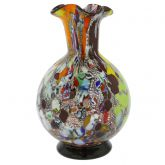 Murano Millefiori Art Glass Vase - Silver Purple