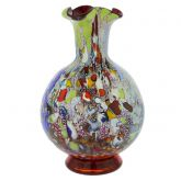 Murano Millefiori Art Glass Vase - Silver Red