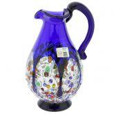 Murano Millefiori Art Glass Pitcher / Carafe - Blue