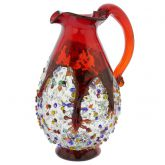 Murano Millefiori Art Glass Pitcher / Carafe - Red
