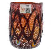 Red Swirls Murano Glass Tumbler