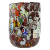 Murano Drinking Glass - Millefiori Silver Purple