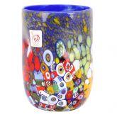 Murano Drinking Glass - Blue Millefiori