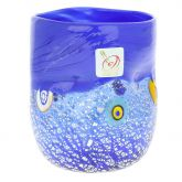 Murano Drinking Glass - Silver Blue Mosaic