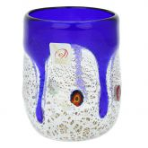 Murano Drinking Glass - Silver Liquid Blue Mosaic