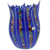 Blue Murano Glass Fazzoletto Millefiori Filigrana Vase - Large