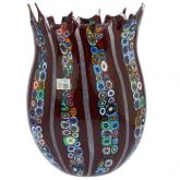 Red Murano Glass Fazzoletto Millefiori Filigrana Vase - Large