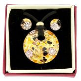 Venetian Reflections Round Necklace and Earrings Set - Topaz Gold