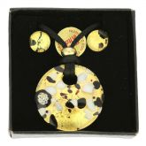 Venetian Reflections Round Necklace and Earrings Set - Black Gold