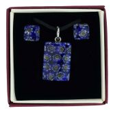 Murano Glass Millefiori Necklace and Earrings Set - Navy Blue