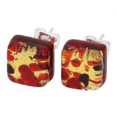 Venetian Reflections Square Stud Earrings - Black Red