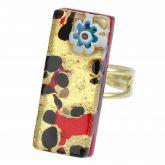 Venetian Reflections Rectangular Ring - Gold Millefiori
