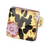Venetian Reflections Square Adjustable Ring - Gold Millefiori