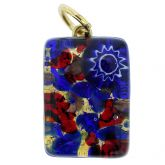 Venetian Reflections Rectangular Pendant - Blue Red