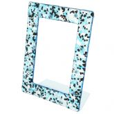 Murano Glass Photo Frame 4X6 Inch - Silver Blue