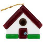 Murano Glass House Christmas Ornament - Red