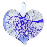 Silver Rain Heart Pendant - Blue