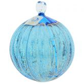 Murano Glass Medium Christmas Ornament - Aqua Blue