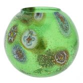 Murano Glass Millefiori Votive Candle Holder - Green