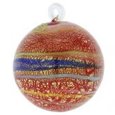 Murano Glass Medium Christmas Ornament - Red Swirls