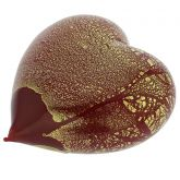 Murano Glass Red Gold Heart