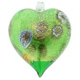Murano Glass Heart Millefiori Christmas Ornament - Green Gold