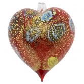 Murano Glass Heart Millefiori Christmas Ornament - Red Gold