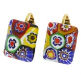 Color Splash Millefiori Rectangular Clip Earrings - Multicolor