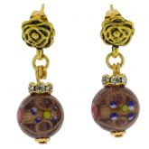 Magnifica Antique Stud Balls Earrings - Light Purple
