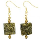 Vivaldi Murano Square Earrings - Black and Gold