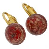 Murano Sparkles Cabochon Clip Earrings - Red