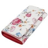 Fioretta Italian Genuine Leather Wallet For Women Credit Card Organizer Flowers Pattern - Red