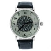 Murano Glass Men's Millefiori Watch With Leather Band - Black
