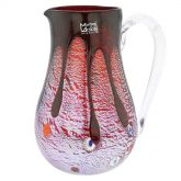 Murano Glass Carafe - Silver Lava Red