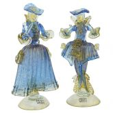 Venetian Goldonian Couple - Blue and Gold