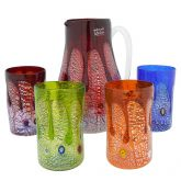 Silver Lava Murano Glass Decanter Set - Carafe and Four Glasses