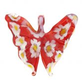 Red Daisy Butterfly Pendant