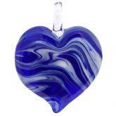 Venetian Marble Heart Pendant - Blue