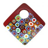 Curved Square Millefiori Pendant - Red