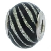 Sterling Silver Black Stripes Murano Glass Charm Bead