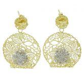 Italian Rose Sterling Silver Gold-Plated Earrings