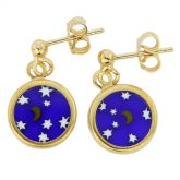 "Millefiori Earrings in Gold-Plated Frame ""Starry Night"""