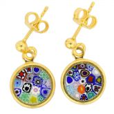 "Millefiori Earrings in Gold-Plated Frame ""Multicolor"""