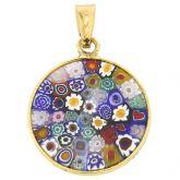 "Small Millefiori Pendant ""Multicolor"" in Gold-Plated Frame 18mm"