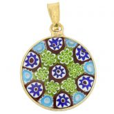 Small Millefiori Pendant in Gold-Plated Frame 18mm