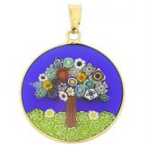 "Medium Millefiori Pendant ""Tree Of Life"" in Gold-Plated Frame 23mm"
