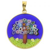 "Medium Millefiori Pendant ""Tree of Life"" in Gold-Plated Frame 26"