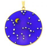 "Large Millefiori Pendant ""Starry Night"" in Gold-Plated Frame 36mm"