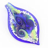 Leaf in Swirls Pendant - Blue