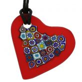 Matte Millefiori Heart Necklace - Red